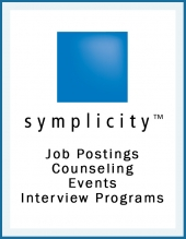 "Blue square with text stating ""Simplicity"" and Job Postings, Counseling, Events and Interview Programs on a white background"