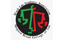 Logo of the Black Law Students Association at the Shepard Broad College of Law